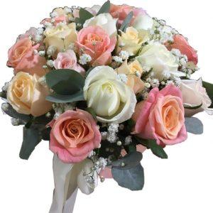 букет роз оранжевый, белый и розовый