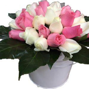 белый и розовый букет