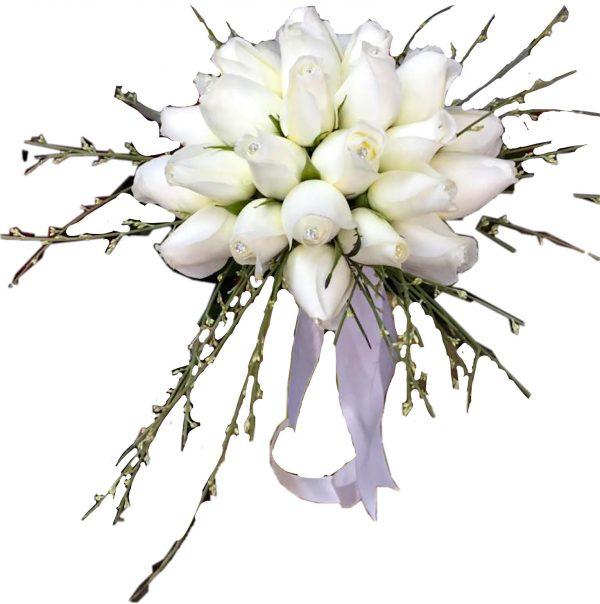 פרחי גורדון זר כלה ורדים לבנים ויהלומים
