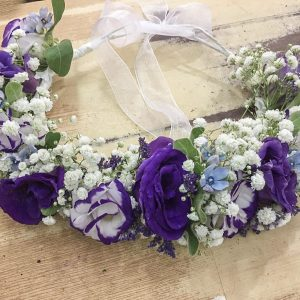 white and purple flower crown