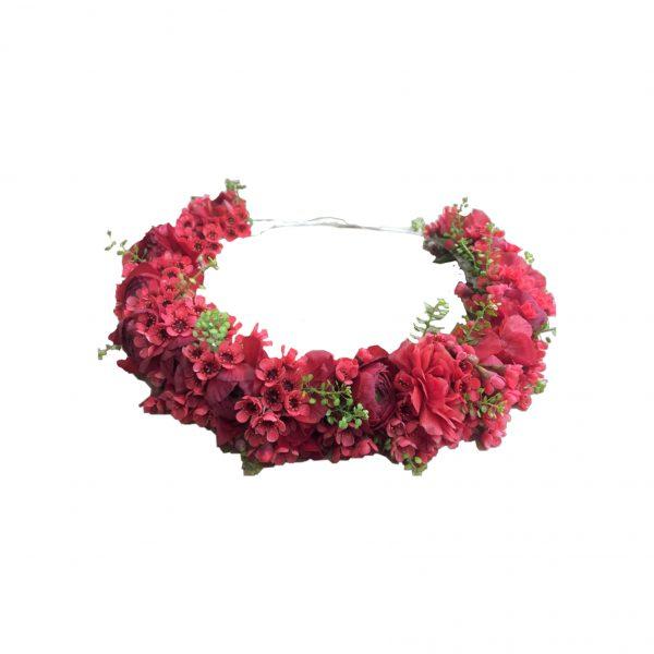פרחי גורדון זר לראש בגווני אדום ורוד
